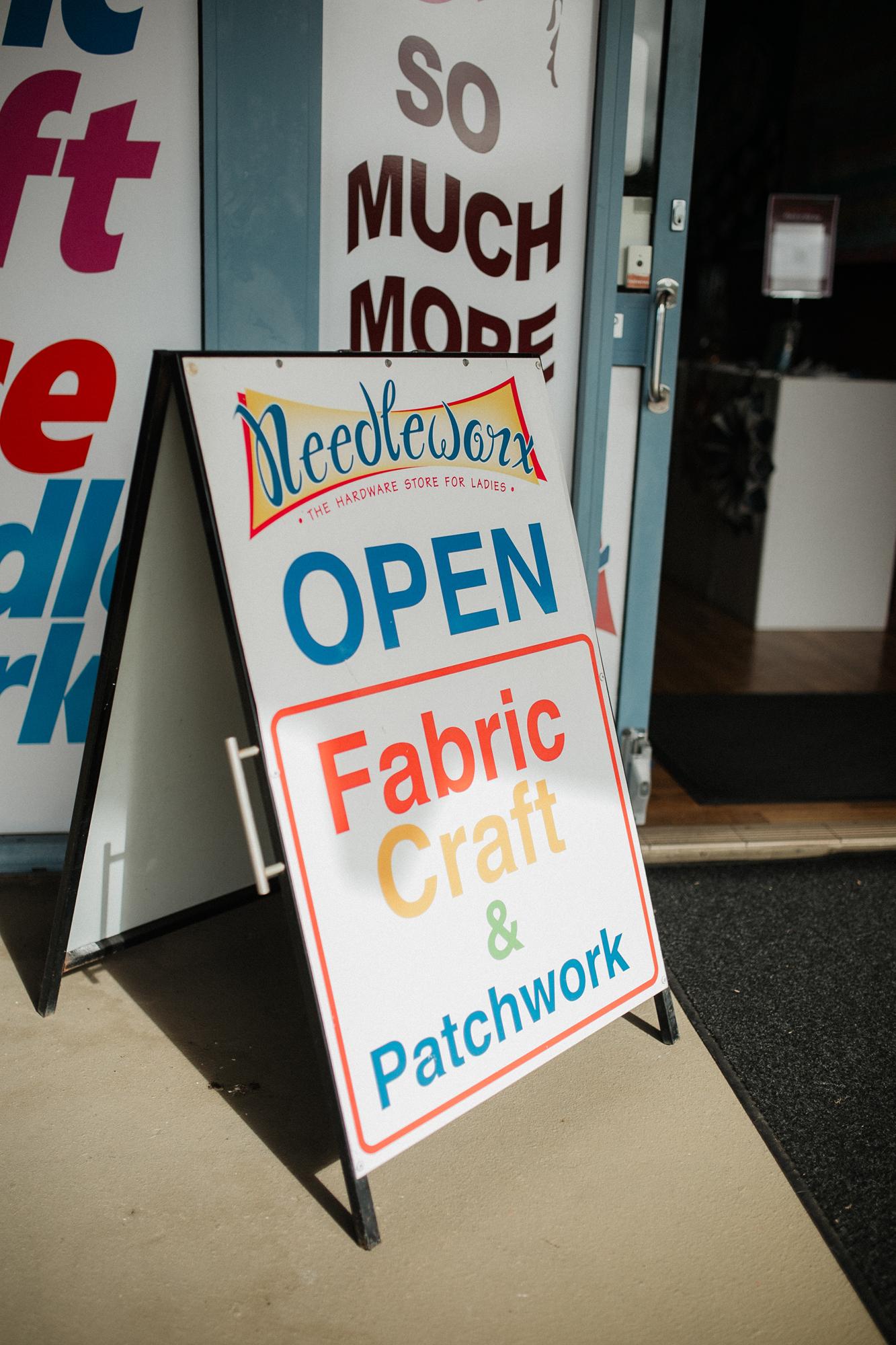 Entry signage at Needleworx Mount Pleasant