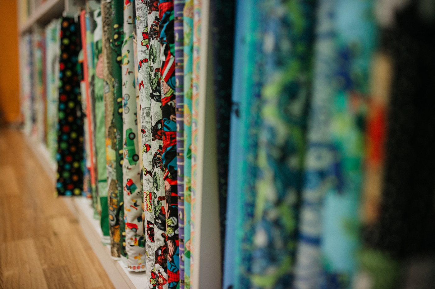 Needleworx store with rows pattern sewing material